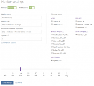 monitor settings in new relic synthetics
