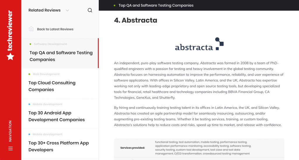 tech reviewer abstracta listing