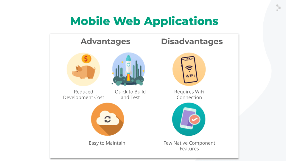 mobile web apps advantages and disadvantages slide